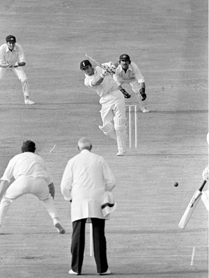 Boycott seals his return to England duty in 1977 with an on drive to bring up his 100th 100.