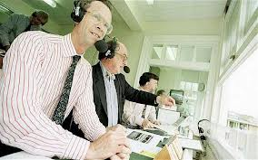 CMJ in the TMS box with Henry Blofeld and Bill Frindall