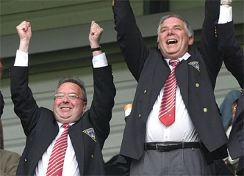 Gavin Masterton (left) and John Yorkston celebrate a happier day at Dunfermline