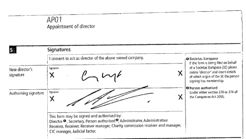 And the signatory page showing those of Messrs Whyte and Green