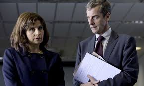 Peter Capaldi as the unique Malcolm Tucker imparting words of wisdom to Rebecca Front as the unfortunate Minister