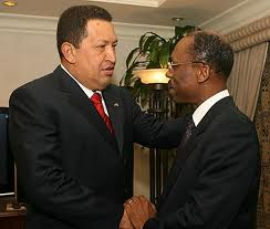 President Aristide (right) (as he then was) with the late President Chavez of Venezuela