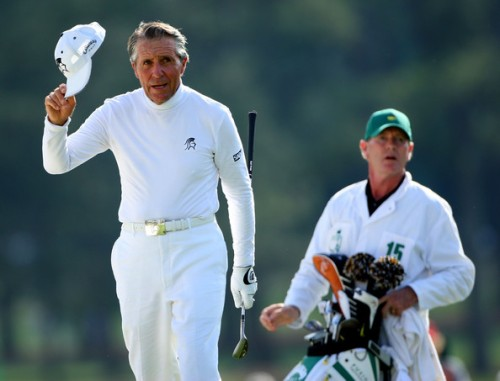 Dave King - man of many talents - here caddying for Gary Player at the US Masters